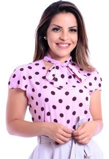 Blusa Miss Lady Viscose Poá Rosa - Kanui