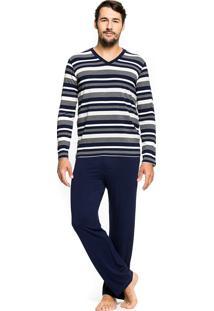 Pijama Inspirate De Inverno Listrado Marinho