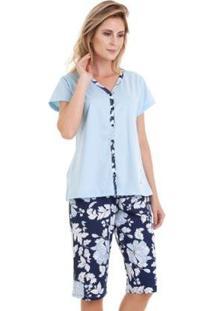 Conjunto Pijama Luna Cuore Capri Manga Curta Feminino - Feminino-Azul