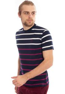 Camiseta Aleatory Listrada Loud Masculina - Masculino-Marinho