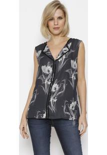 Blusa Floral Com Viã©S - Preta & Cinzacalvin Klein
