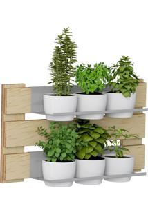 Jardim Vertical C/ 2 Prateleiras E 6 Cachepots Green – Be Mobiliário - Natural
