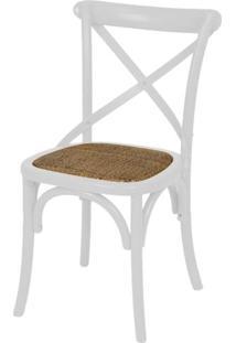 Cadeira Katrina Branca Laqueada Com Assento Rattan - 30749 - Sun House