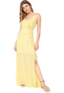 Vestido Enfim Longo Listrado Amarelo/Off-White