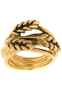 Aurelie Bidermann Leaf Embellished Ring - Dourado