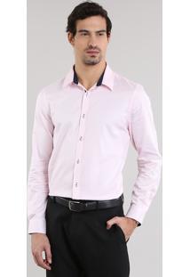 Camisa Slim Rosa Claro