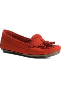 Mocassim Couro Shoestock Franja Feminino - Feminino-Vermelho