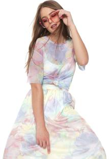 Blusa Fiveblu Tule Tie Dye Amarela/Rosa