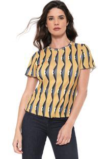 Blusa Morena Rosa Estampada Amarela/Azul