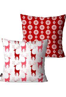 Kit Com 2 Capas Para Almofadas Pump Up Decorativas Natalinas Renas Rosas E Vermelhas 45X45Cm