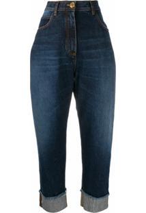 Balmain Calça Jeans Cintura Alta De Algodão - Azul