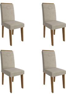Conjunto Com 4 Cadeiras De Jantar Taís I Suede Savana E Bege