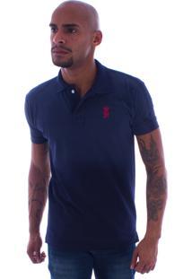 Camiseta Polo Rockstar Lisa Tie Dye Azul Marinho