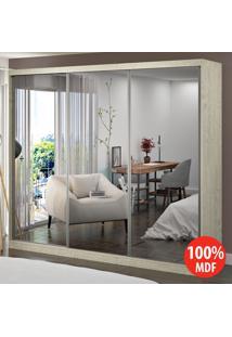 Guarda Roupa 3 Portas Com 3 Espelhos 100% Mdf 1905E3 Marfim Areia - Foscarini