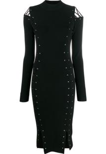 Mcq Alexander Mcqueen Knitted Eyelet Fitted Dress - Preto