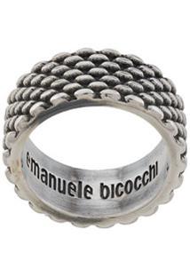 Emanuele Bicocchi Anel Com Textura - Prateado