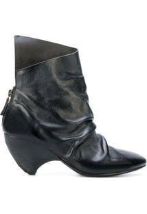 Marsèll Ankle Boot Assimétrica Com Franzido - Preto