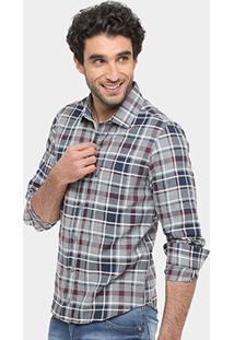 Camisa Xadrez Sergio K Slim Fit Bolso Masculina - Masculino