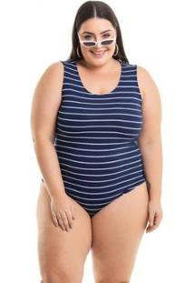 Body Viscolycra Listrado Miss Masy Plus Size Feminino - Feminino
