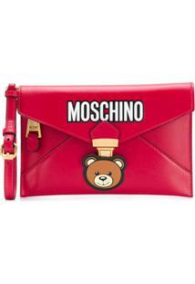 Moschino Clutch Com Estampa De Logo - Vermelho