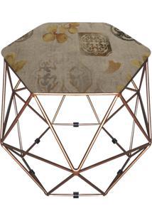 Puff D'Rossi Decorativo Aramado Geométrico Hexágono D107 Base Dourada
