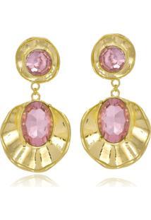 Brinco Le Diamond Concha Com Cristal Rosa - Kanui