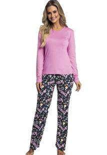 Pijama Recco De Viscose E Microfibra Rosa - Tricae