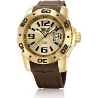 f84afc90b31 Relógio Pulso Everlast E530 Pulseira Silicone - Masculino-Dourado+Marrom