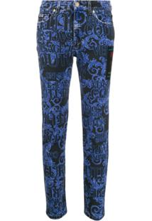 Versace Jeans Couture Calça Jeans Skinny Com Estampa Barroca - Azul