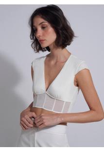 Sutiã Le Lis Blanc Detalhe Manga Ana 2 Underwear Off White Feminino (Off White, G)