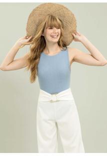 Calça Pantalona Com Cinto Branco Off White - Lez A Lez