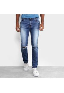 Calça Jeans Skinny Opera Rock Estonada Rasgos Masculina - Masculino-Azul