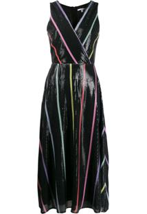 Olivia Rubin Vestido Thea Listrado Com Paetês - Preto