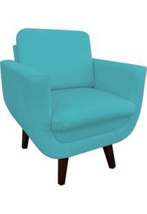 Poltrona Decorativa Athenas Suede Azul Tiffany D'Rossi