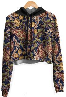Blusa Cropped Moletom Feminina Over Fame Vintage Floral Md01 - Kanui