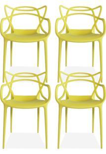 Kit 04 Cadeiras Decorativas Lyam Decor Amsterdam Amarelo. - Tricae