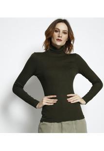Blusa Lisa Canelada- Verde Militar- Tritontriton