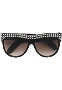 45ca29ba906d2 R  5610,00. Farfetch Gucci Eyewear Óculos De Sol Com Cristal Swarovski -  Marrom