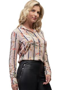 Camisa Viscose Mx Fashion Estampada Iris Rosê