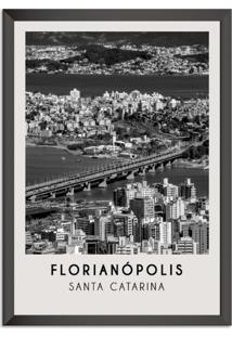 Quadro Oppen House 65X45Cm Cidades Florianópolis Brasil Moldura Preta Sem Vidro - Oppen House Decora