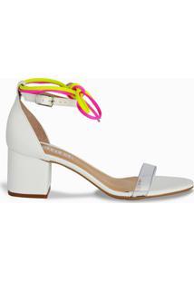 Sandália Branca De Salto Bloco E Tira Neon