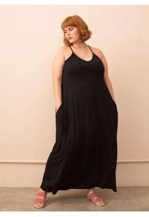 Vestido Longo Com Alças Finas Plus Size Preto-60/6