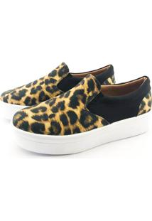 Tênis Flatform Quality Shoes Feminino 009 Animal Print E Preto 40