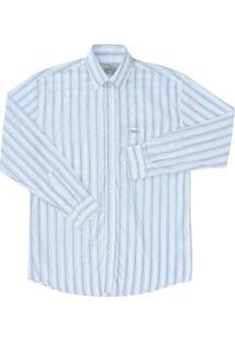 Camisa Manga Longa Masculina Listrada Wrangler - Masculino-Branco