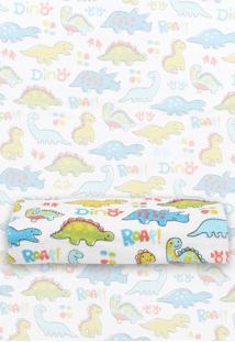 Toalha De Banho Dino Branca/Azul