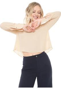 Blusa Cropped Maria Filó Babados Laranja