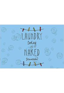 "Tapete Transfer ""Laundry Today""- Azul & Preto- 60X40Tapetes Junior"