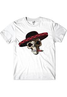 Camiseta Long Beach Caveira Cabron Smoke Sublimada Masculina - Masculino-Branco