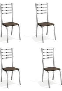 Conjunto Com 4 Cadeiras De Cozinha Alemanha Cromado E Marrom