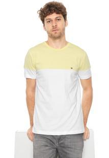 Camiseta Tommy Hilfiger Recortes Amarela/Branca